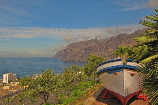 Tenerife, Los Gigantes, Boot, Coast
