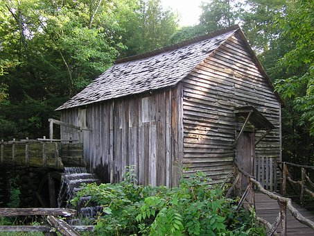 Watermill, Old Building, Water, Tennessee, Wooden