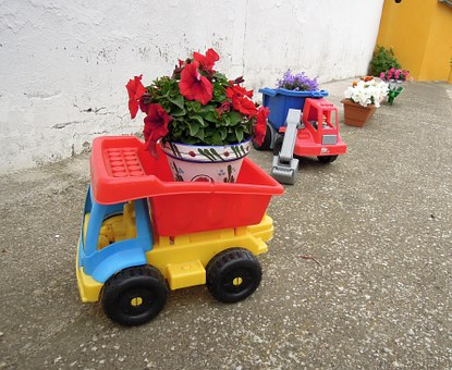 Toys, Toy Truck, Trailer, Plant Pot, Flowerpot, Flowers