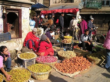 Nepal, Street Market, Fruit, Vegetables, Street Vendor