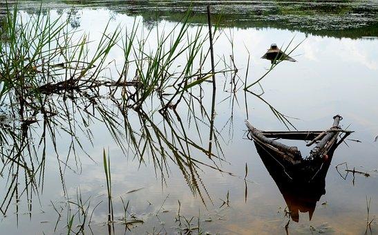 Sampan, Sampan Sinking, Sinking, Sink, Water, Lake