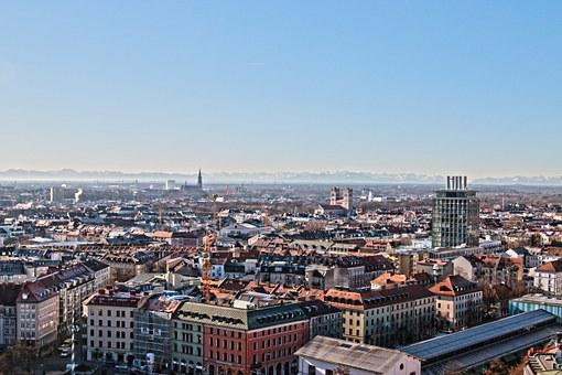 Munich, Bavaria, From Above, Distant View, Mountains