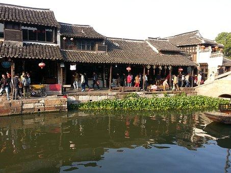 Village, River, Water, Still, Hyacinth, House, Rural