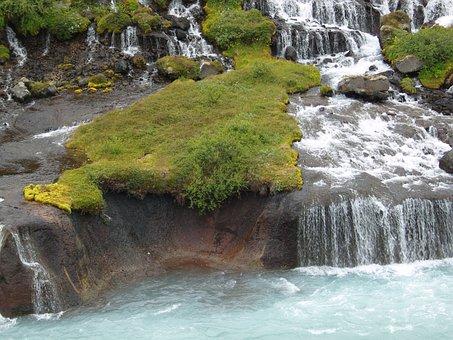 Moss, Water, Iceland, Small Waterfall, Rock
