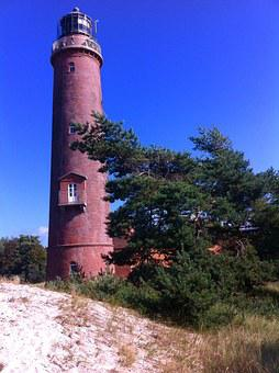 Lighthouse, Prerow, Tower, Germany, Red Brick
