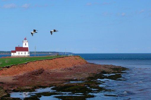 Prince Edward Island, Canada, Lighthouse, Red Shoreline