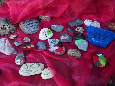 Stones, Labeled, Font, Painted, Lucky Stones