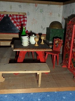 Dolls Houses, Old, Furniture, Doll's House, Play
