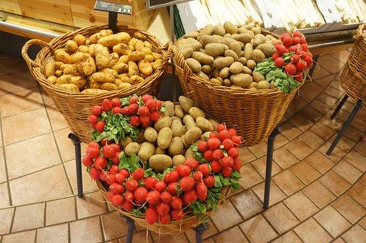 Potatoes, Vegetables, Radishes, Food, Organic, Healthy