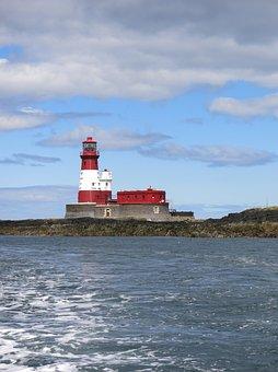 Longstone, Lighthouse, Farne, Island, Red, White, Sea