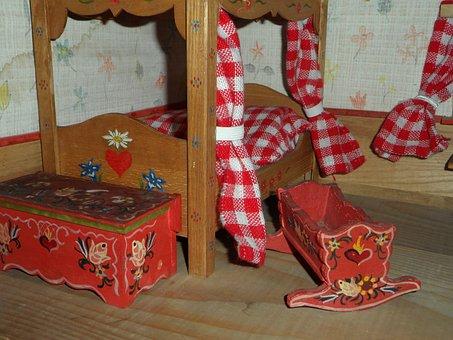 Dolls Houses, Rustic Furniture, Bedroom, Painted