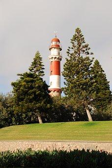 Lighthouse, Swakopmund, Sea, Red, White, Namibia