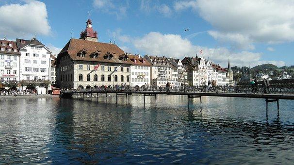 Lucerne, Town Hall, Reussteg, Bridge, Reuss, River
