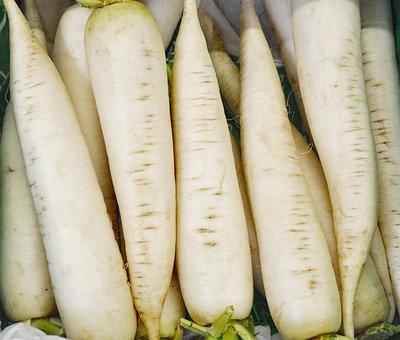 Icicle Radishes, Vegetables, White