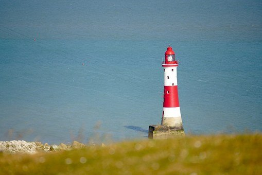 Lighthouse, Water, Lake, Red, White, Security