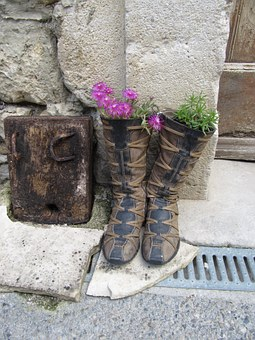 Boots, Flowers, Plants, Stones, Wall, Block, Wood