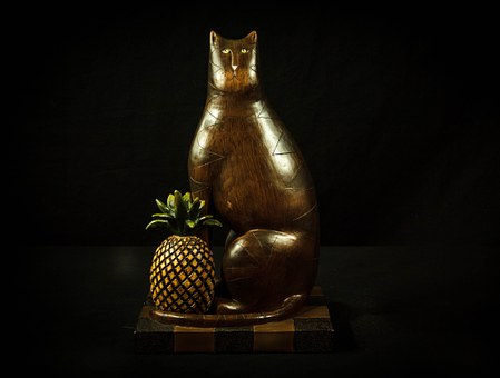 Cat, Pineapple, Carved Wood, Tchotchke, Brown Cat