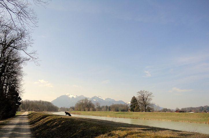 Chiemgau, Mountains, Tyrolean Uards, River, Blue Sky