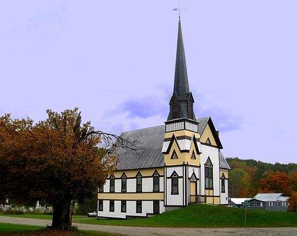 East Corinth, Church, Steeple, Vermont, Fall, Spire