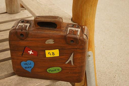 Luggage, Wooden Case, Colorful, Brown