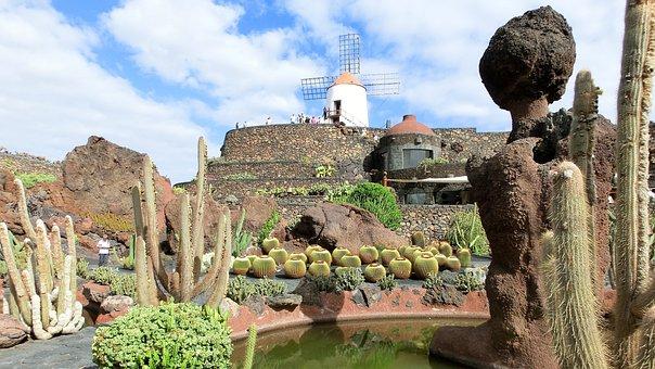Lanzarote, Jardin De Cactus, Gofiomuehle