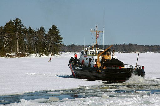 Kennebec River, Maine, Coast Guard, Ice Cutter, Winter