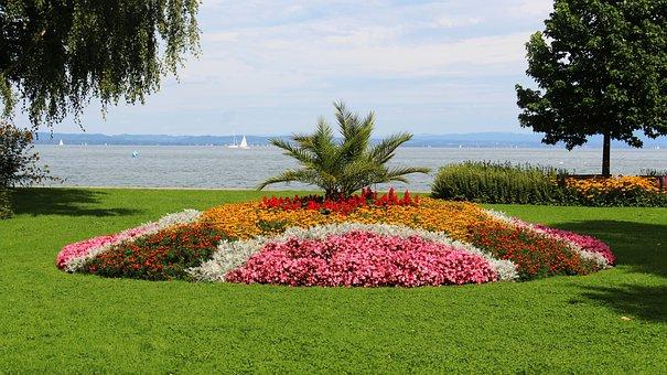 Flowers, Flower Island, Rondelle, Lake, Sky, Promenade