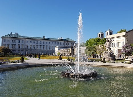 Salzburg, Mirabell Gardens, Fountain, Mirabell Palace