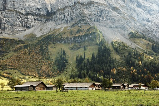Austria, Tyrol, Karwendel Mountains, Mountains, Alm