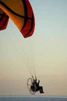Paraglider, Motor, Sea, Red, Abendstimmung, Movement