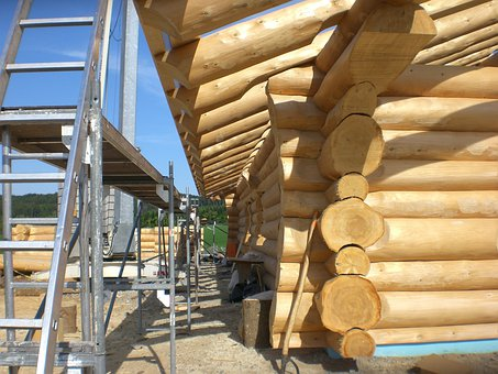 Natural Root, Round Stem, Block House, Wood, Residence