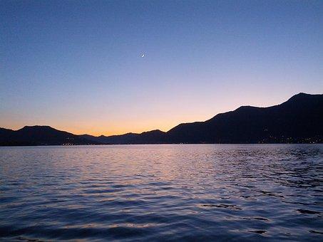 Lake, Iseo, Landscape, Night, Water