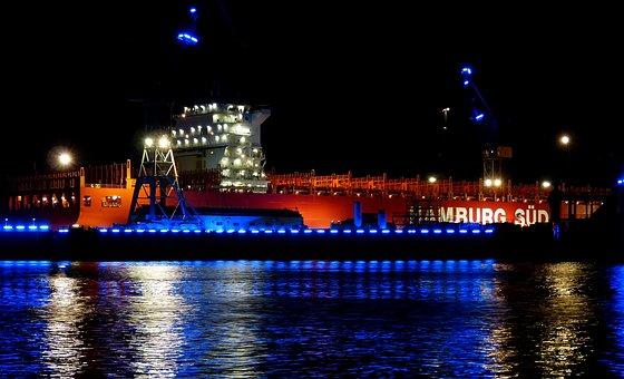 Port, Hamburg, Ship, Water, Landungsbrücken