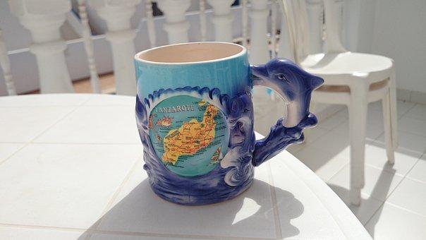 Mug, Cup, Cermamics, Lanzarote, Blue, Souvenir