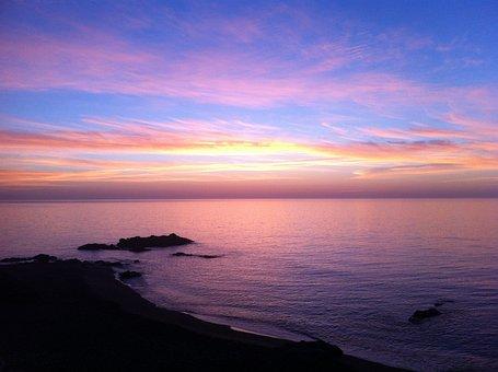 Sunset, Beach, Dawn, Sea, Clouds, Lilac, Backlight