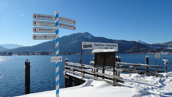 Winter, Lake, Tegernsee, Landscape, Web, Sun, Wallberg