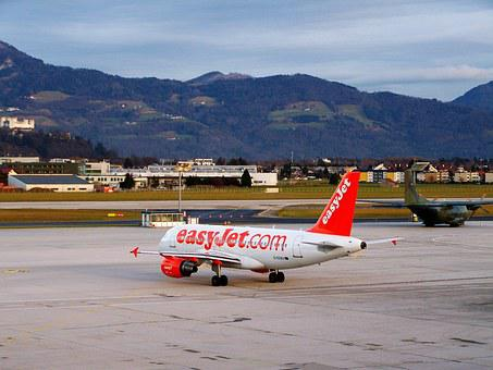 Aircraft, Airport Salzburg, White-red Airplane