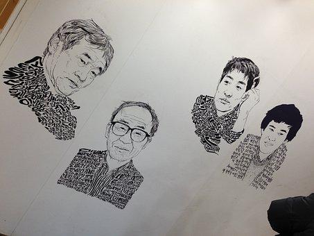 Caricature, Bookstore, Writers Face