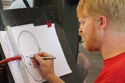 Artist, Caricature, Street Artist, Man, Drawing