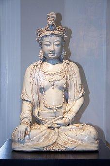 Buddha, Clay Sculpture, Glazed, Figure, Deity, Statue