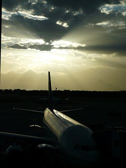 Airport, Aircraft, Arrival, Departure, Sunset
