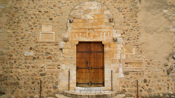France, St Genis, Abbey, Lintel, Door, Old, Facade
