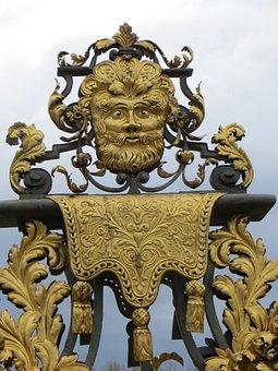 Gate, Gargoyle, Garden, England, Hampton, Court