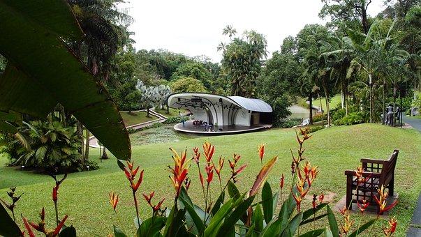 Singapore, Landscape, Stage, Amphitheater, Flowers