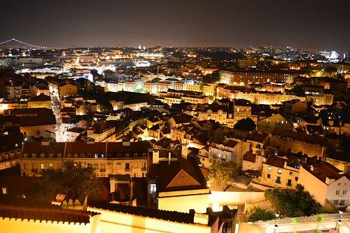Lisbon, Night, Houses, City scape, Lights