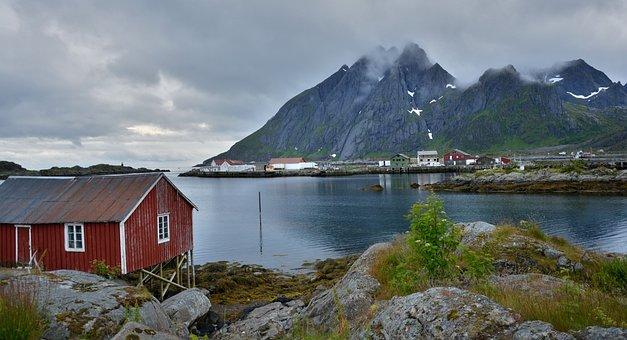 Lofoten, Mountains, Sea, Fjord, Norway, Landscape