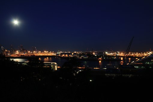 Hamburg, Night, Köhlbrand Bridge, Port Of Hamburg