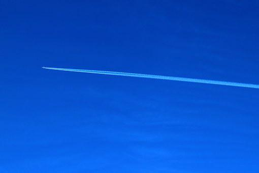 White, Ray, Open Air, Plane, Trail, Sky, Aircraft