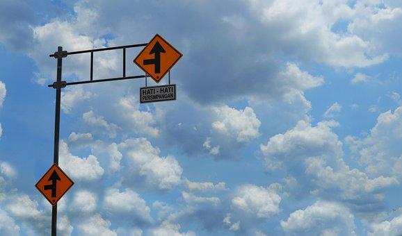 Sign, Plank, Street, Road, Yellow, Way, Be Careful, Sky