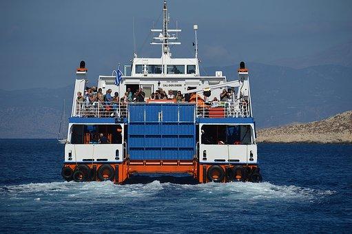 Ferry, Greece, Chalki, Boat, Sea, Sunshine, People